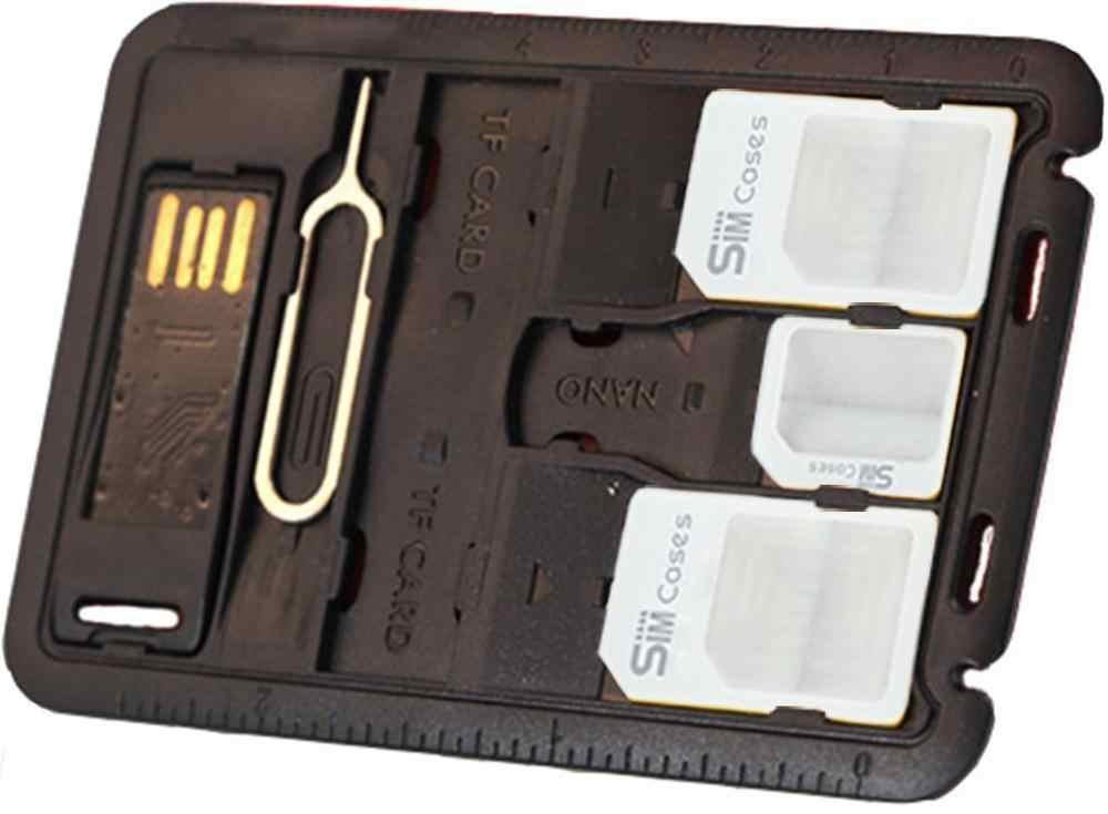 5 en 1 universel Mini carte SIM adaptateur mallette de rangement Kits pour Nano Micro carte SIM porte-carte mémoire lecteur boîtier couvercle connecteur