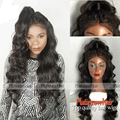 Heat Resistant Hair Heavy Density Synthetic Lace Front Wig For Black Women Body Wave Color #1B Synthetic Hair Wigs Stock