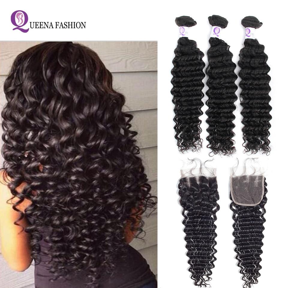 Raw Indian Deep Wave Bundles With Closure 4X4 Deep Wave Closure With Baby Hair 3 Bundles Human Hair Weave Bundles With Closure