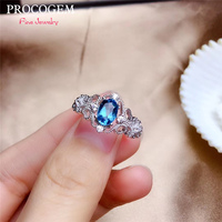 PROCOGEM Vintage Natural Blue Topaz Rings for Women Party Gifts 1.10Ct Genuine gemstone Fine jewelry 925 Sterling Silver #531