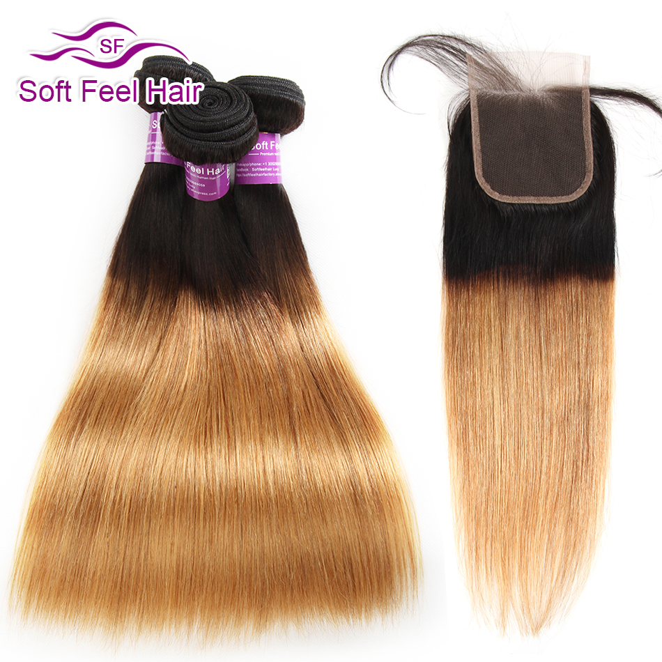 Soft Feel Hair 1B 27 Ombre Bundles With Closure Honey Blonde Remy Peruvian Straight Human Hair