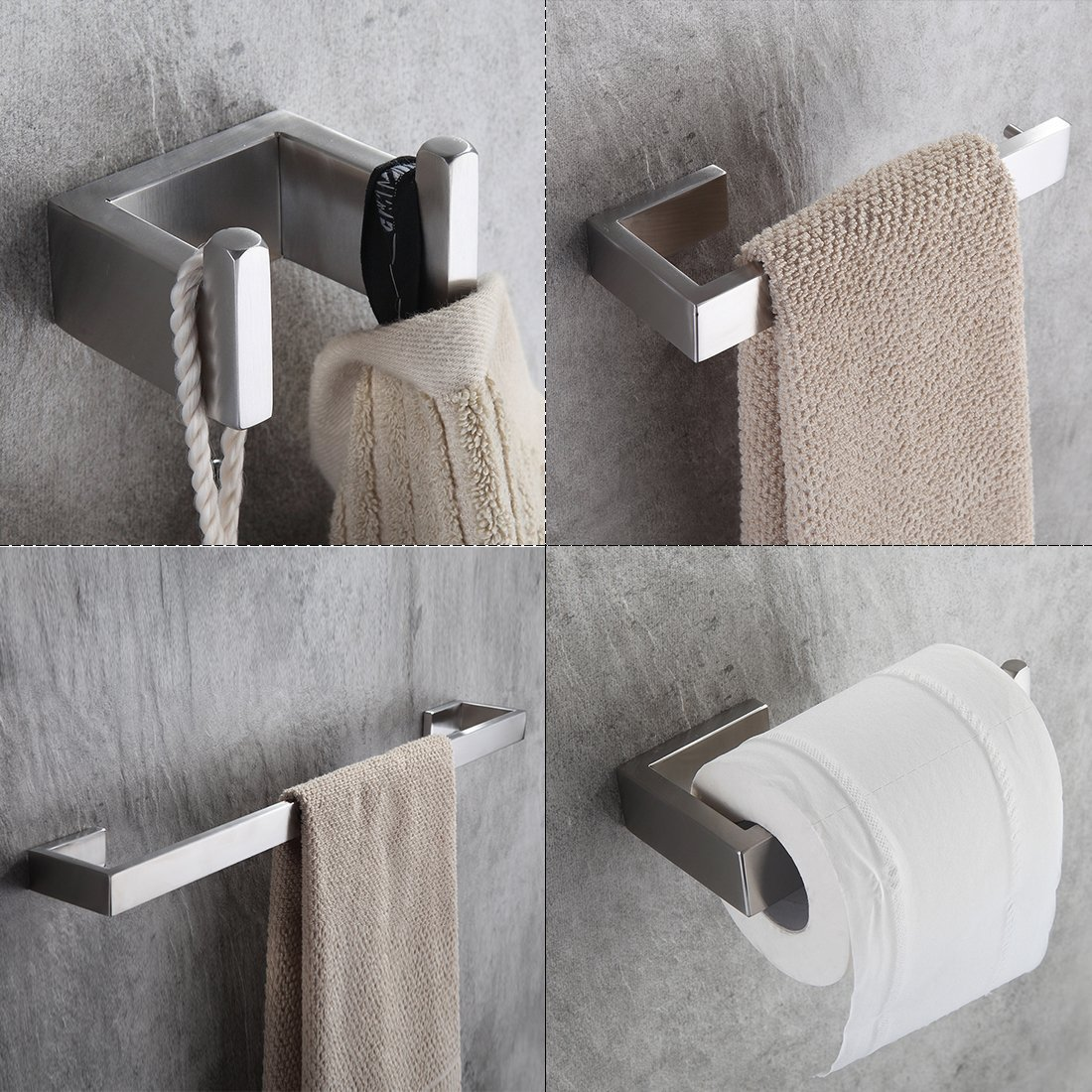 4 Piece/set Bath Hardware Sets 304 Stainless Steel Bathroom Accessories Set Single Towel Bar, Robe Hook, Paper Holder FLG90012SS nickel brushed 304 stainless steel next bathroom accessories set single towel bar cloth hook paper holder bath hardware sets