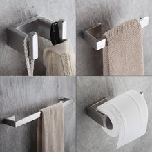 hot deal buy 4 piece/set bath hardware sets 304 stainless steel bathroom accessories set single towel bar, robe hook, paper holder