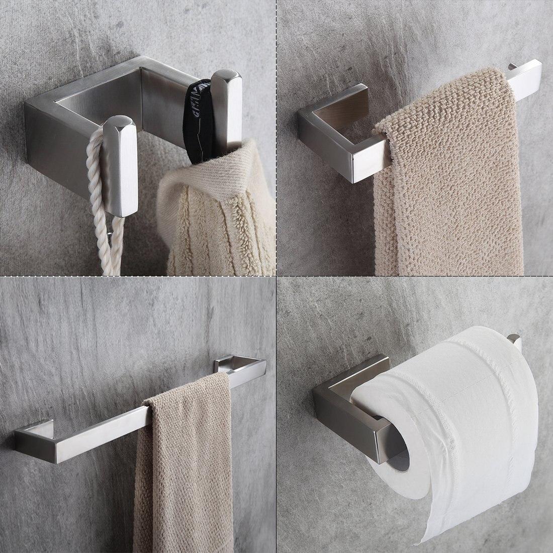 4 Piece/set Bath Hardware Sets 304 Stainless Steel Bathroom Accessories Set Single Towel ...