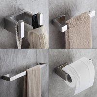 4 Piece/set Bath Hardware Sets 304 Stainless Steel Bathroom Accessories Set Single Towel Bar, Robe Hook, Paper Holder FLG90012SS