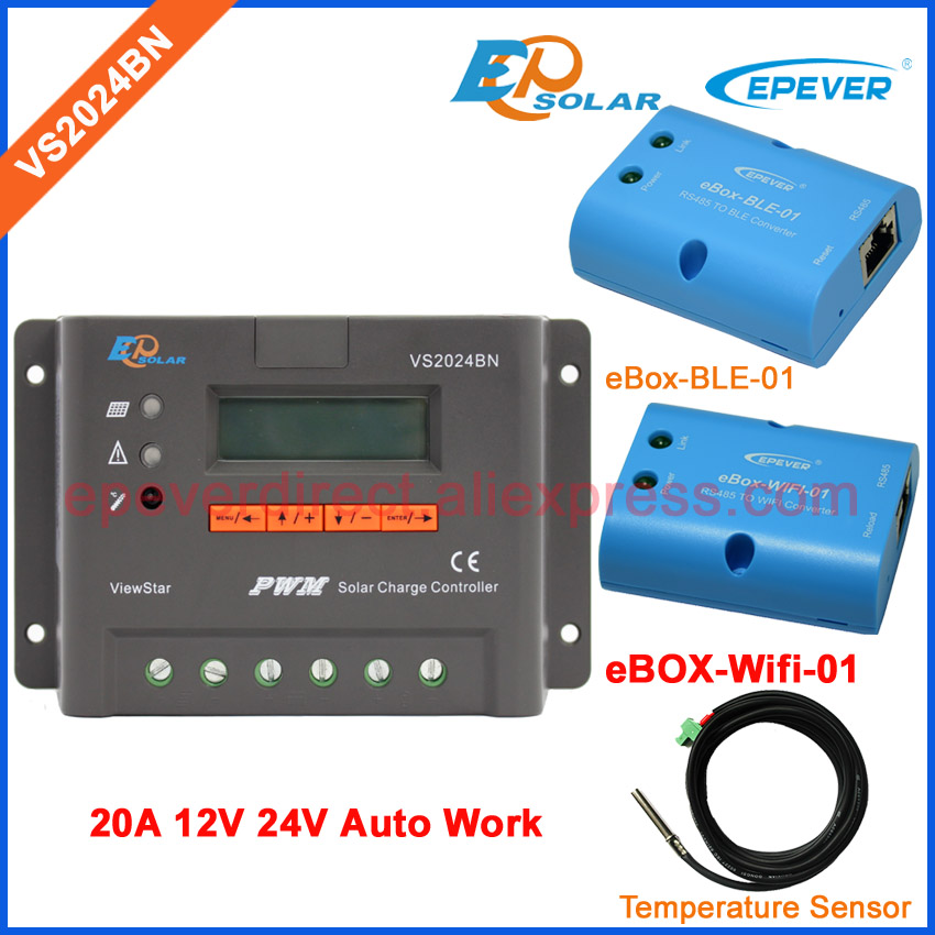 20A 24v controller with lcd display VS2024BN solar regulator PWM wifi and bluetooth BOX temperature sensor EPEVER epever pwm epsolar 20a vs2024bn with bluetooth function box solar charger controller temperature sensor and mt50 meter