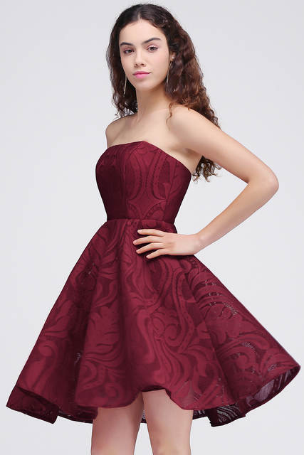 59acf4a1f00 Sexy Vestido 15 ano curto Burgundy Lace Homecoming Dresses 2019 Floral  Print 8th Grade Graduation Dress