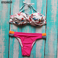INGAGA 2018 Brazilian Bikini Push Up Bandeau Swimwear Women Sexy Ladies Swimsuit Printed Cut Out Biquini