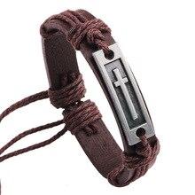 Men's Christian Jewelry Leather Cross Bracelet