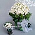 Elegant Stars Turquoise Artificial Wedding Bouquet For Bridal Flowers Silk Beautiful Bridal Bouquet Satin Buque Noiva Get Corsag