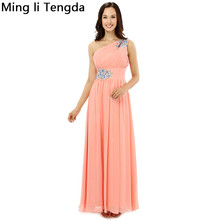 Orange Chiffon Evening Dresses Long Pleated One Shoulder Evenging