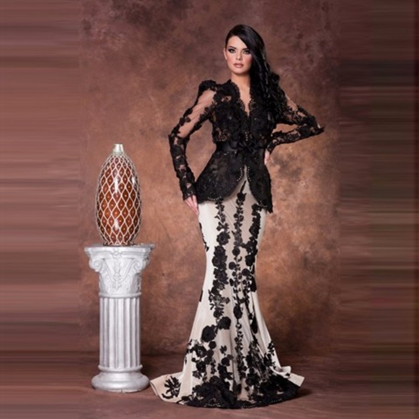 Saudi Arabia Mermaid Long Long Sleeve Prom Robe De Soiree Long Black And White Lace Evening Gown Mother Of The Bride Dresses