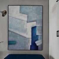 Математика большой Размеры 100% расписанную абстрактный синий яркий пейзаж картина маслом на холсте Стиль живопись для украшения дома