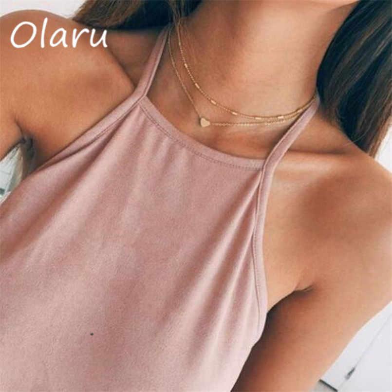 Olaruファッション多層ハートチョーカーネックレスの女性の高級シンプルなゴールドカラー声明自由奔放に生きるネックレスアクセサリー