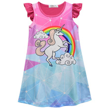 2019 Summer Childrens Clothing Cute Girl Cartoon Rainbow Unicorn Nightgowns Kids Short-sleeved Nightdress