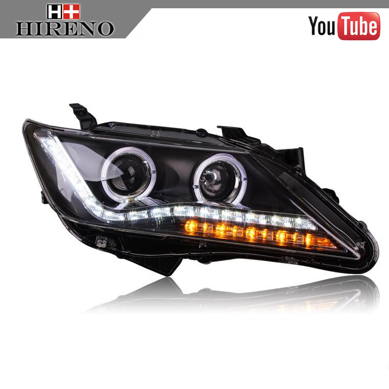 Hireno Car styling Headlamp for 2007-2012 Honda Accord Headlight Assembly LED DRL Angel Lens Double Beam HID Xenon 2pcs