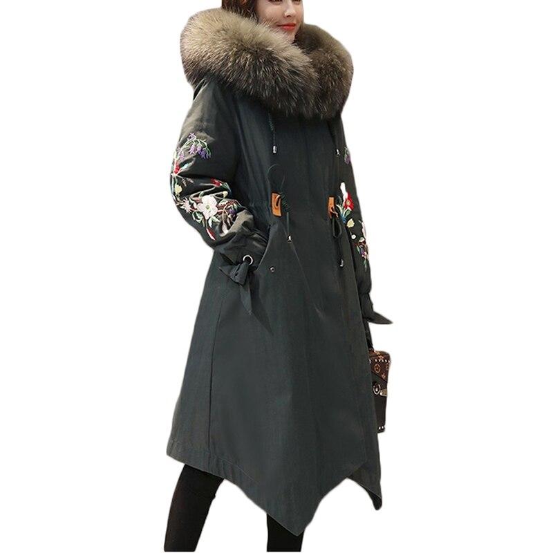 Nouvelle Broderie Capuche Coréennes Femme Manteau Coton À Armygreen Hiver black Bas Vestes Taille Longue Marée Fourrure Col A933 Veste Femmes 7znxzXv
