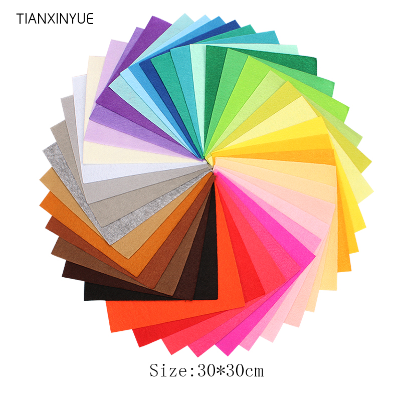 TIANXINYUE 40PCS lot 30CM 30CM fabric Mix Colors 100 Polyester Nonwoven Felt Fabric DIY Cloth For Flower Animal Toy Felts in Fabric from Home Garden