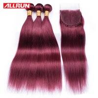 Allrun Perulu Şarap Kırmızı Renk 4*4 Dantel Kapatma Ile 3 Demetleri 100% Insan Saç Uzatma Remy 4 Adet/grup ücretsiz Kargo