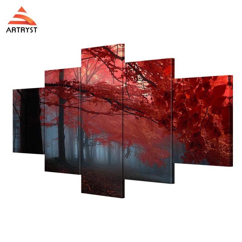 Artryst 5 Wall Art Kanvas Lukisan Pohon Merah Landscape Gambar Cetak - Dekorasi rumah - Foto 1
