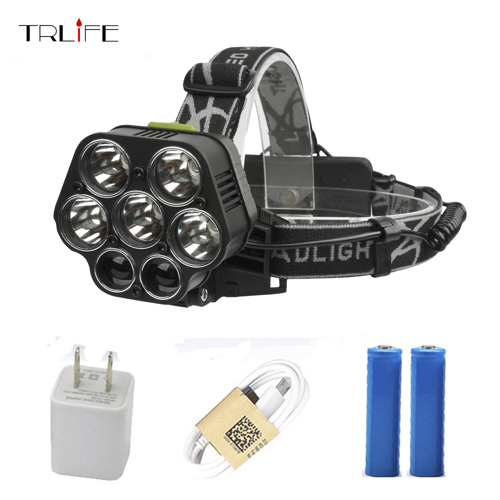 USB Rechargeable XML-5*T6 7 LED Headlamp Head Lamp 40000 lumens LED Flashlight White red green blue Head Light By 2*18650 sb331 cool skull head style 2 led red light keychain w sound effect white black 2 x ag10