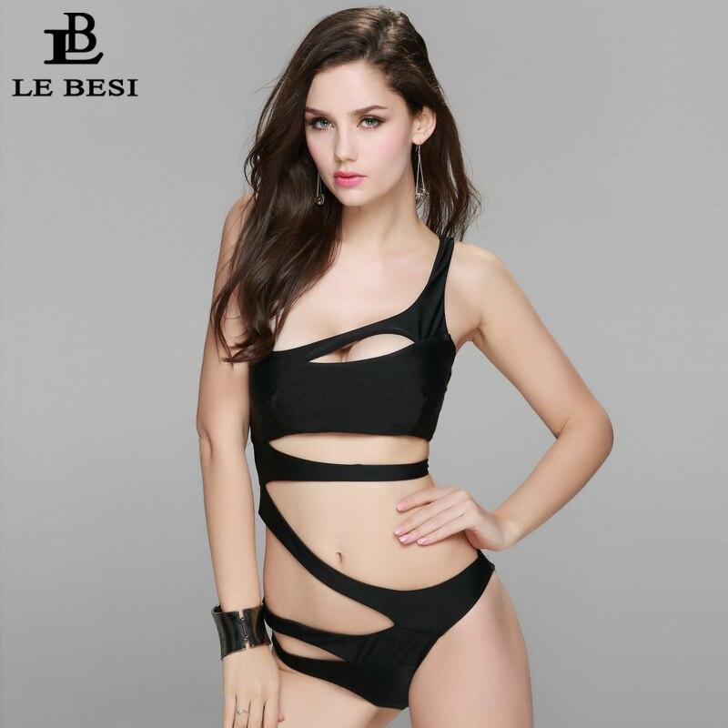 LEBESI 2017 New Sexy One Piece Swimsuit For Women Bandage Monokini Black White S M L shoulder Cut Out Swimwear Bathing Suit keenetic 4g iii