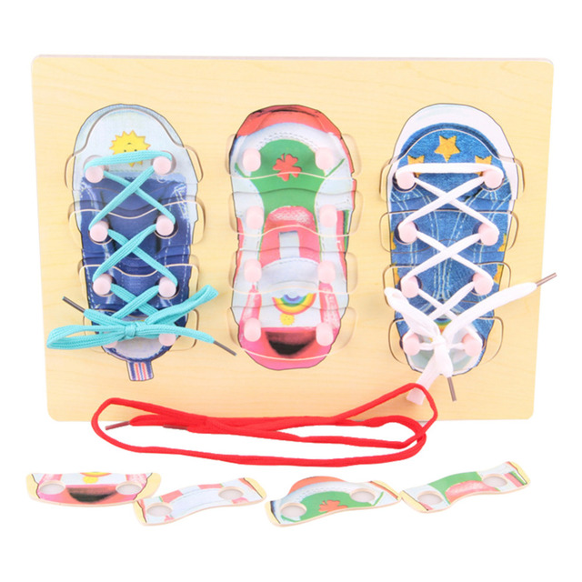 Diy Shoe Lace Tying Board Learn To Tie Your Shoe Wooden Puzzle Peg