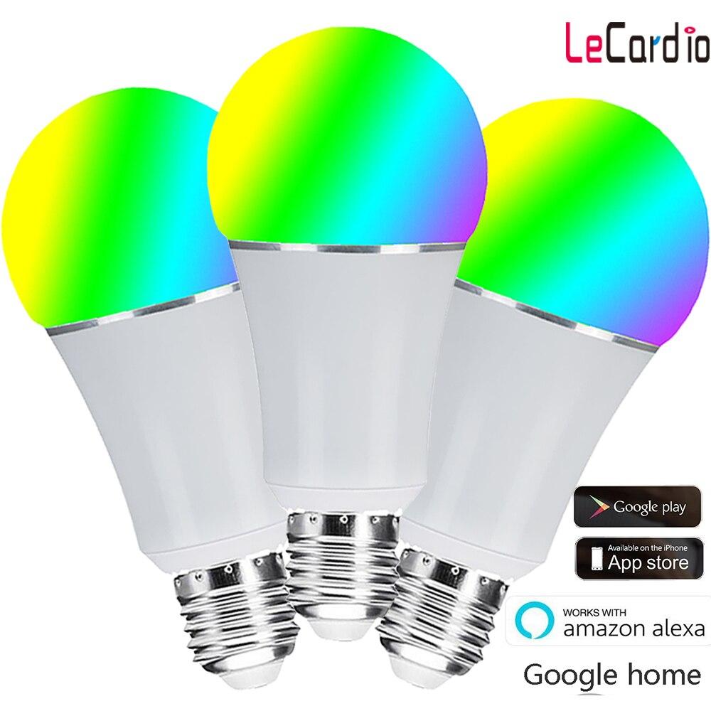 3 PC Pack Wifi ampoule, E27 E26 B22 16 millions rvb couleur lampe de scène Compatible avec Alexa Google Home Phone App 60 W équivalent