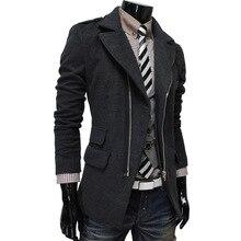 2016 Осень И Зима Новый мужской нерегулярного кармана шинель мода косой молнией мужская повседневная шерстяное пальто куртки
