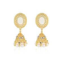84bb7ea18e7a Transmitir amor Retro India étnica Jhumka Jhumki pendientes de mujer Color  oro circonita perla linterna pendientes para la joyer.