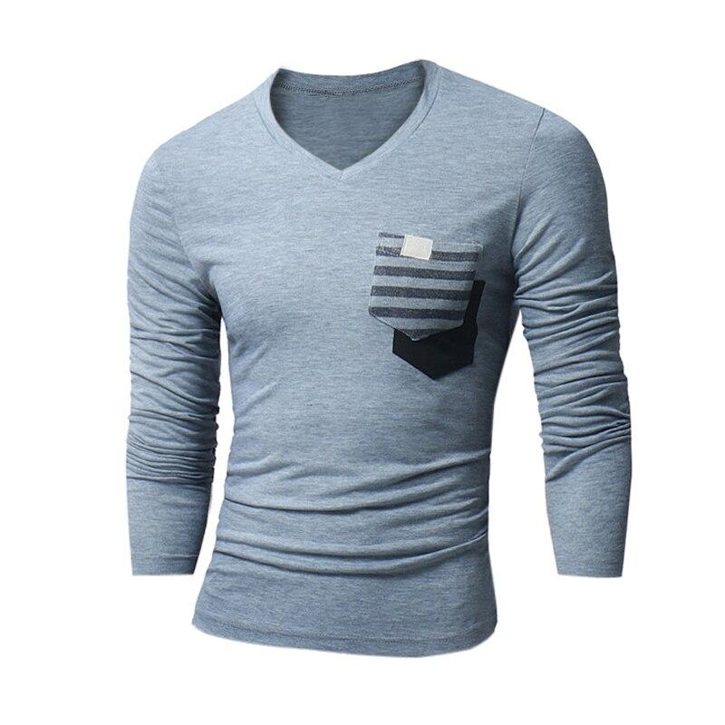 Autumn Men's T-Shirt Slim Fit Patchwork V-Neck Hombre Shirts Casual Long Sleeve Tshirt Tee Tops Men Clothing Masculino