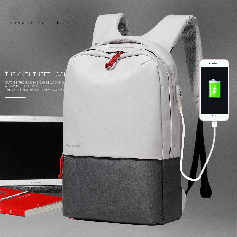 ФОТО Men's and Lady's Laptop Quality Shoulder Bag Business Computer Backpack  Student Bag Travel USB Rechargeable Backpack Charge
