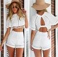 O Envio gratuito de Mulheres Roupas de Verão 2015 das Mulheres Tops E Calças Roupa de Duas Peças de Moda Branco Top Colheita Blusa & Short Pant