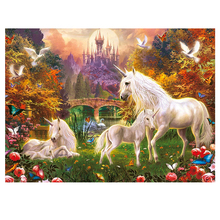 DIY diamond painting Unicorn Castle animal full dimaond embroidery unicorn mosaic scenery wall decor