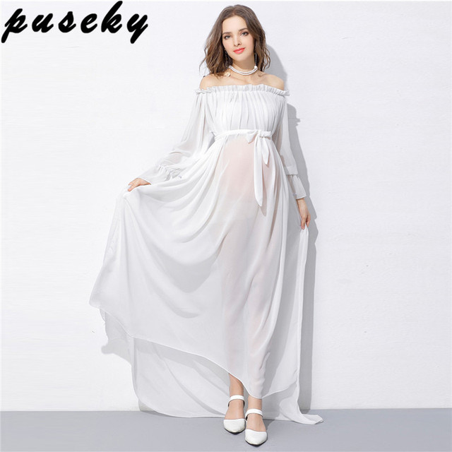 afccd55414c65 US $22.2 |Puseky Maternity Maxi Dresses Maternity Photography Props Chiffon  Dresses Off Shoulders Maxi Pregnant Dresses Pregnancy Photo-in Dresses ...