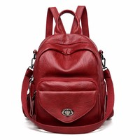 Luxury Leather Backpacks Women Designer Sac A Dos Femme Vintage Bagpack Female Large Capacity Backpacks For Girls Schoolbags New