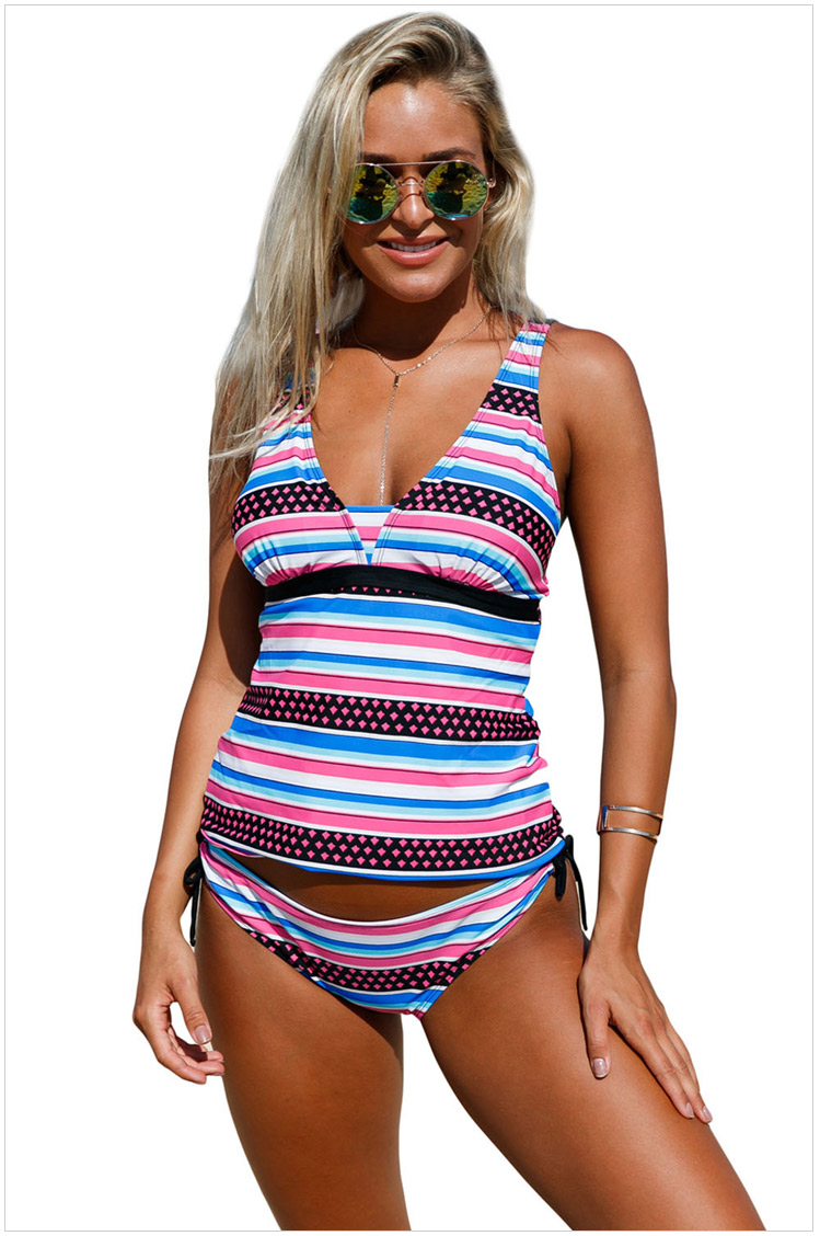 Free Shipping <font><b>Hot</b></font> Sale <font><b>Women's</b></font> Swimwear <font><b>Sexy</b></font> Girly Print Bandeau Tankini And <font><b>Bikini</b></font> Bottoms <font><b>Summer</b></font> Split Swimsuit 4F410235 image