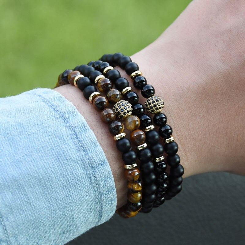 HYHONEY 2 pièce/ensembles pierre naturelle Bracelet hommes Micro pavé CZ 8mm Disco balle breloques Bracelets pour femmes hommes bijoux viking bijoux 6