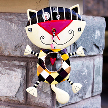 Cat child room wall clock resin home clocks cartoon wall clock decoration watch for Christmas gift