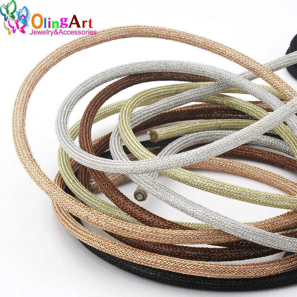 OLINGART 1M/lot 6.0mm Mesh Metal Colorful Wire Plastic Hollow Tube Put On The Wire To Fix Shape DIY Bracelet Jewelry Making