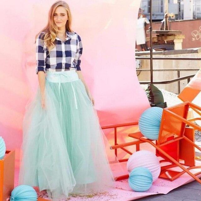 Super Puff Long Tulle Skirts Womens Mint Green Ball Gown Charming Maxi  Skirt High Street Spring Summer Lolita Saia Jupe 473d41553399