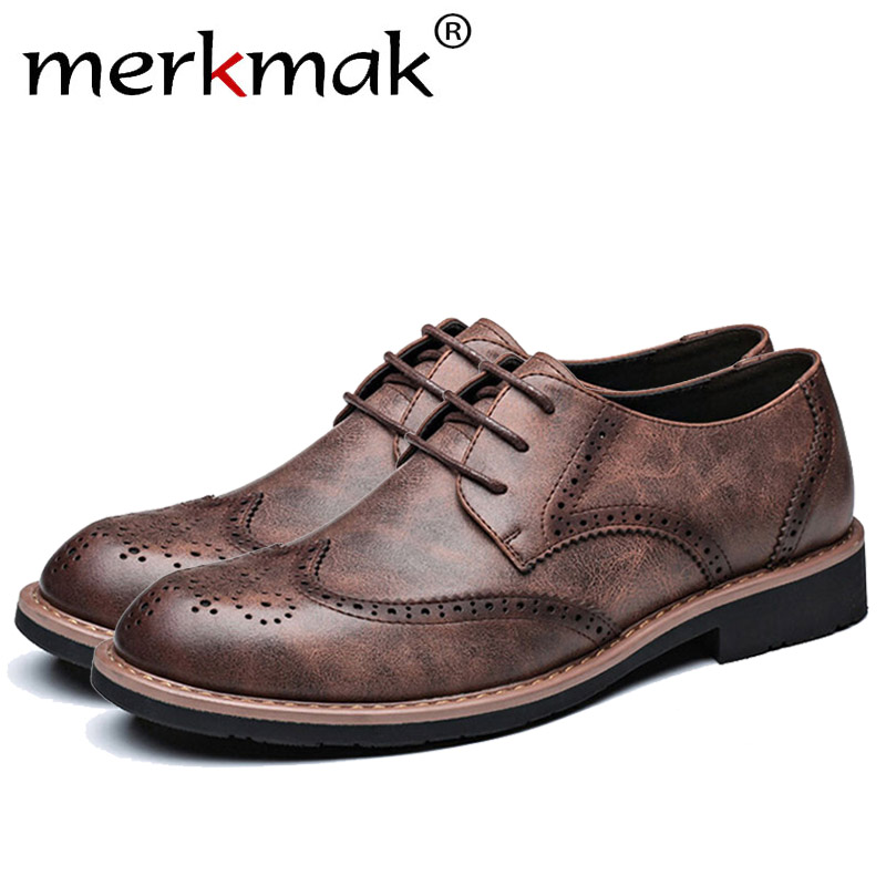 Merkmak Fashion British Style Brogue Men Shoes Casual Genuine Leather Man Flats Footwear Driving Plus Big Size 35- 48  Drop Ship