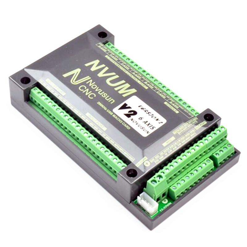 NVUM 4 Axis Mach3 USB Card 200KHz CNC Router 3 4 6 Axis Motion Control Card Breakout Board For Diy Engraver Machine