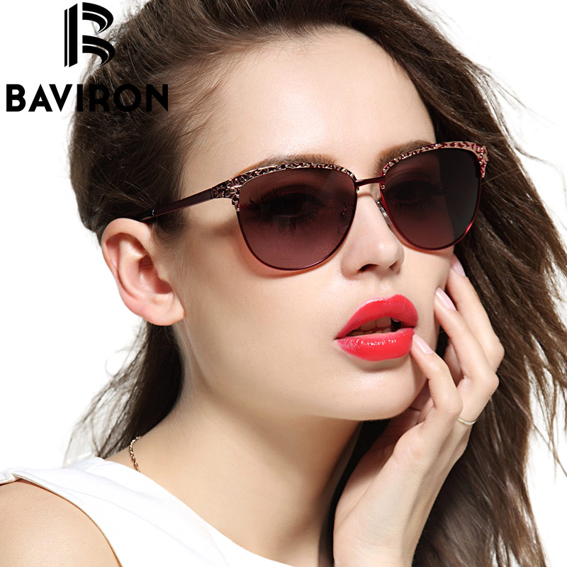 BAVIRON Cat Eye Sunglasses Women Gradient Polarized Sun Glasses Female Aluminum Coating Relief Casual Outfits Glasses