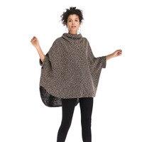 Women High Collar Sweater Poncho 2018 New European Style Batwing Sleeve Irregular Warm Winter Knitting Pullovers E5887