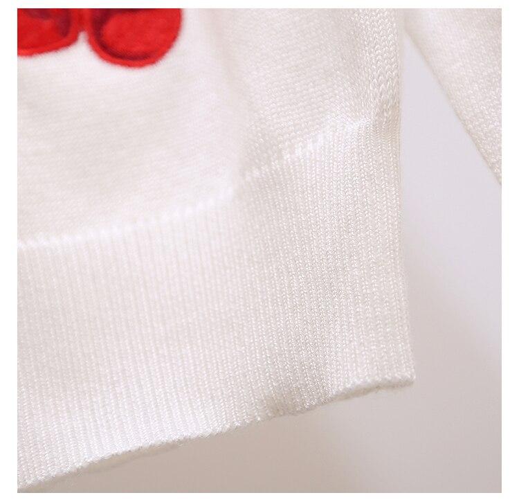 Makuluya otoño primavera mujer suéter bordado cereza patrón todo ...