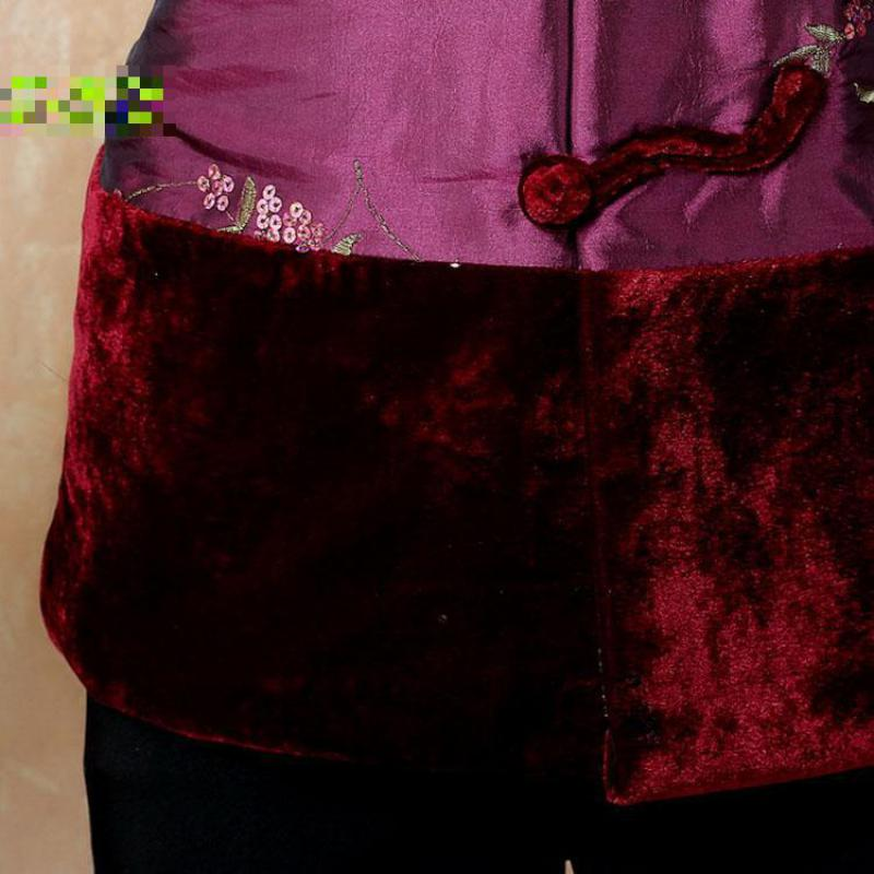 Hiver Tang Fleur Oversize Nouvelles Veste 4xl Mère Vintage Femmes Broderie Outwear Chinois pourpre Manteau M Épais 2019 Style Vêtements Vert Wram r8W7rn