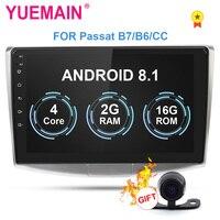 YUEMAIN Car Radio Multimedia Player For VW Volkswagen Passat B7 B6/Magotan 2Din Android 8.1 Autoradio GPS Navigation DVR Camera