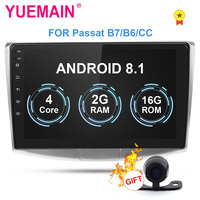 YUEMAIN Car Radio Multimedia Player For VW Volkswagen Passat B7 B6/Magotan 2Din Android 8.1 Autoradio GPS Navigation DVR Camera
