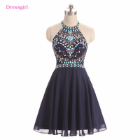 Navy Blue 2018 Homecoming Dresses A Line Halter Chiffon Beaded Crystals See Through Elegant Cocktail Dresses